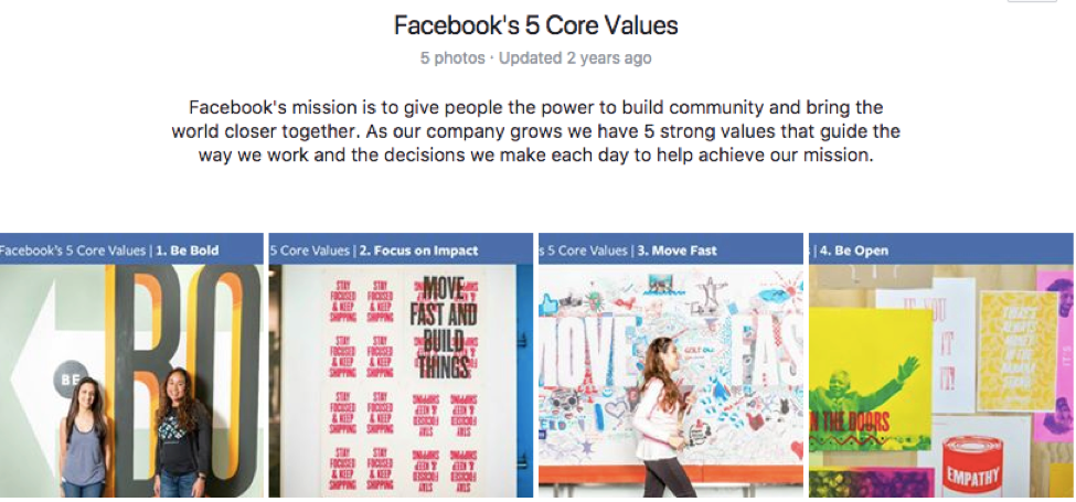 Facebook Core Values
