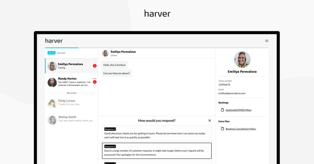 Live chat simulation module in Harver platform