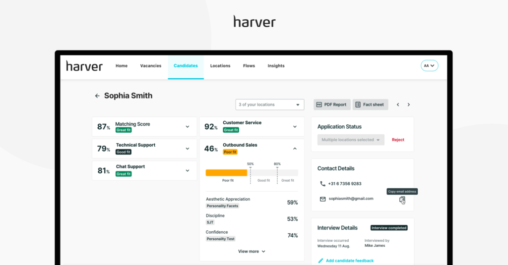 Example of candidate application scores and profile dashboard in the Harver recruitment platform